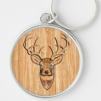 Stylish White Tail Deer Head Wood Grain Print Silver-Colored Round Keychain