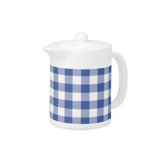 Stylish White Teapot, Dark Blue Check Gingham