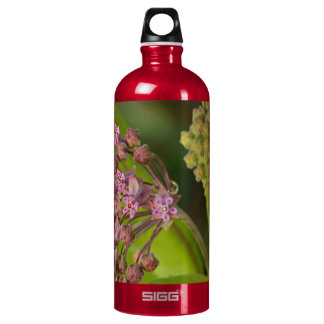 Stylish Wild Pink Milkweed with Green Leaves Aluminum Water Bottle