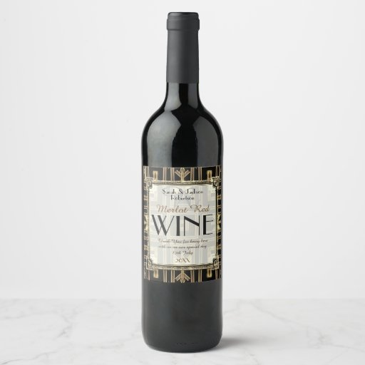 Stylish Wine Labels | Art Deco Black Gold V11