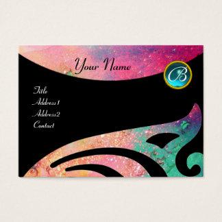 STYLISH WINGS MONOGRAM ,AQUA BLUE ,pink,green,teal Business Card