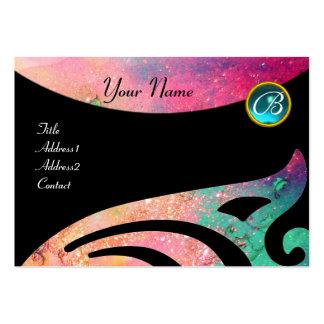 STYLISH WINGS MONOGRAM ,AQUA BLUE ,pink,green,teal Large Business Card