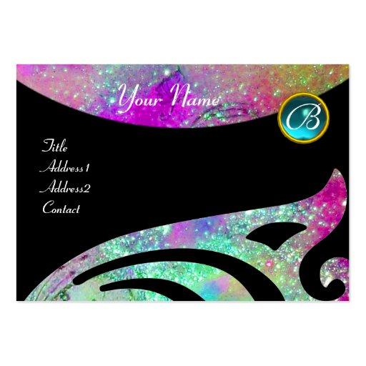 STYLISH WINGS MONOGRAM ,AQUA BLUE pink,purple,teal Business Card Templates