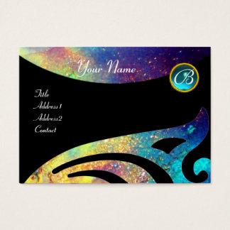 STYLISH WINGS MONOGRAM ,AQUA BLUE ,teal,turquase, Business Card
