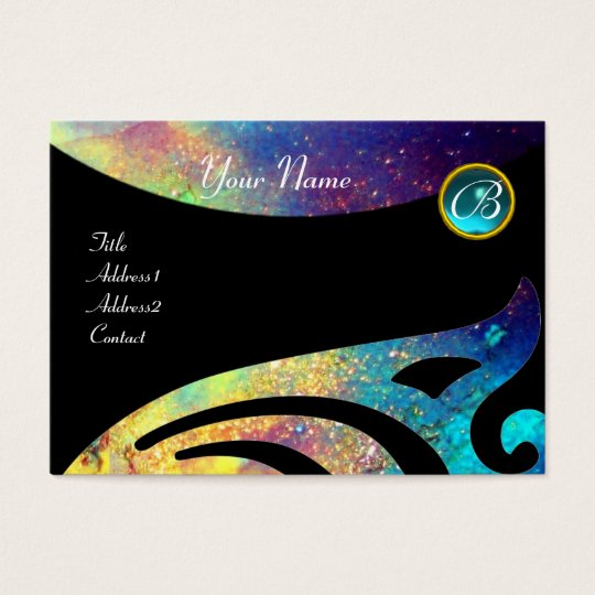 STYLISH WINGS MONOGRAM ,AQUA BLUE ,teal,turquase, Business Card