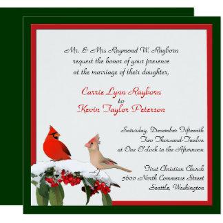 Stylish Winter Cardinals Wedding Invitation