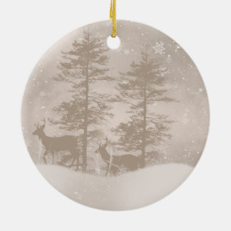 Stylish Winter Scenery With Deer Holiday Ornament