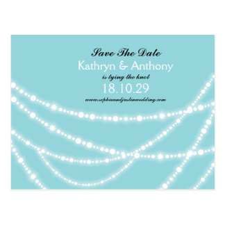 Stylish Winter Sparkles Glow Save The Date Photo Postcard