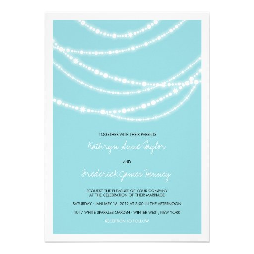 Stylish Winter Sparkles Glow Wedding 2in1 Invite Personalized Invites