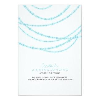 Stylish Winter Sparkles Glow Wedding Reception Card
