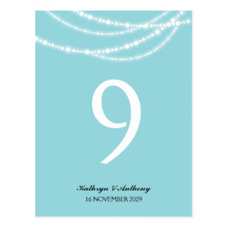 Stylish Winter Sparkles Glow Wedding Table Number Postcard