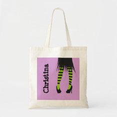 Stylish Witch Fashion Stripe Leggings Halloween Tote Bag at Zazzle