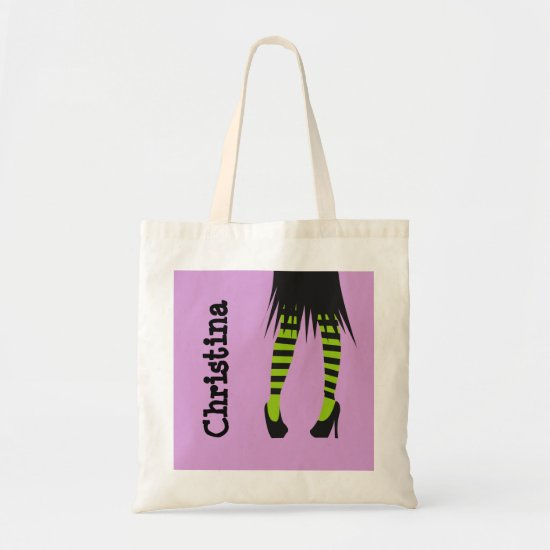 Stylish witch fashion stripe leggings Halloween Tote Bag