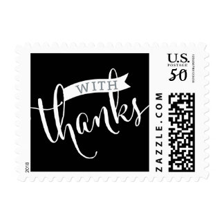 STYLISH WITH THANKS fancy script type black white Postage