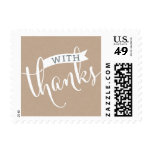 STYLISH WITH THANKS fancy script type kraft white Postage