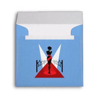 Stylish woman silhouette on red carpet with stars envelope