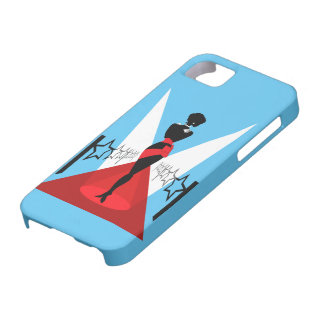 Stylish woman silhouette on red carpet with stars iPhone SE/5/5s case
