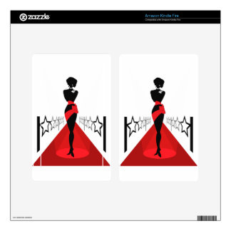 Stylish woman silhouette on red carpet with stars kindle fire decals