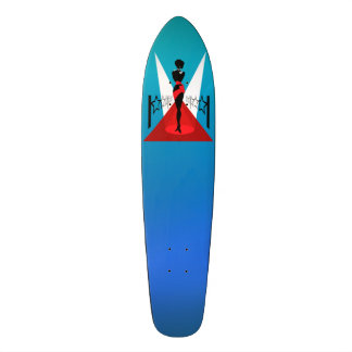 Stylish woman silhouette on red carpet with stars skateboard deck