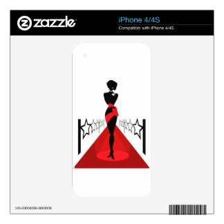 Stylish woman silhouette on red carpet with stars skins for the iPhone 4S
