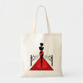 Stylish woman silhouette on red carpet with stars tote bag