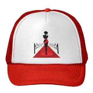 Stylish woman silhouette on red carpet with stars trucker hat