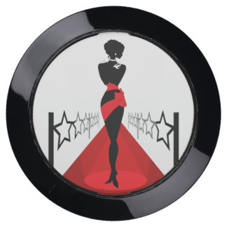 Stylish woman silhouette on red carpet with stars USB charging station