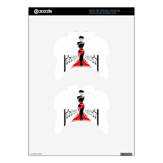 Stylish woman silhouette on red carpet with stars xbox 360 controller skins