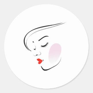 Stylish woman wearing a red lipstick classic round sticker