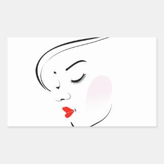 Stylish woman wearing a red lipstick rectangular sticker