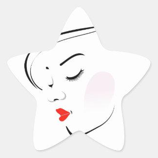 Stylish woman wearing a red lipstick star sticker