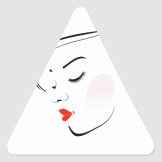 Stylish woman wearing a red lipstick triangle sticker