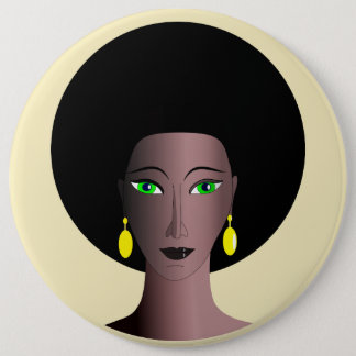 STYLISH WOMAN WITH AFRO BUTTON