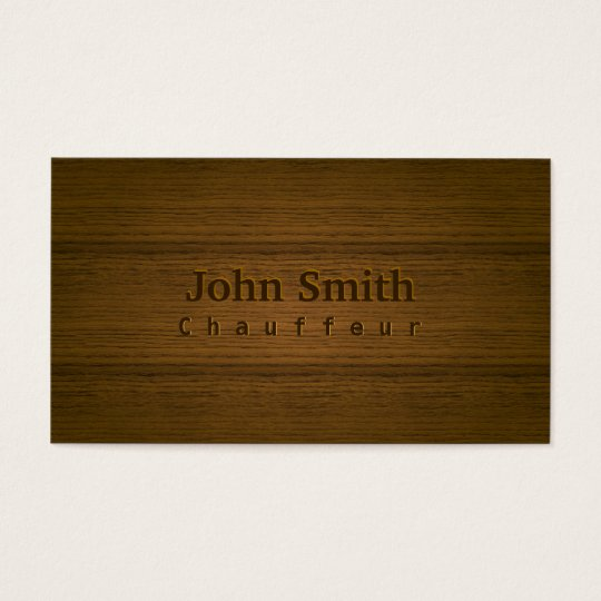 Stylish Wood Embossing Chauffeur Business Card
