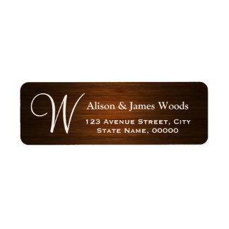 Stylish Wood Grain Look for Monogram Wedding Label