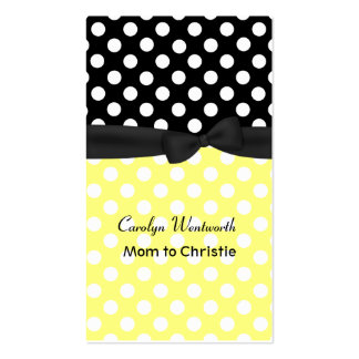 Stylish Yellow and Black Polka Dot Mommy Card Double-Sided Standard Business Cards (Pack Of 100)