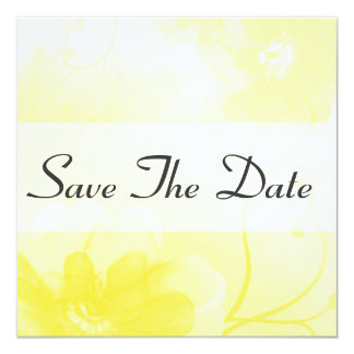 Stylish Yellow and Gray Floral Save The Date Card