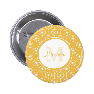Stylish Yellow and White Hearts Monogram With Name Button