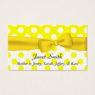 Stylish Yellow and White Polka Dot Mommy Card