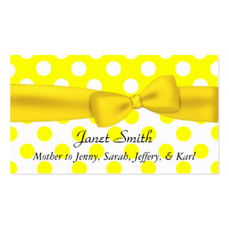 Stylish Yellow and White Polka Dot Mommy Card Double-Sided Standard Business Cards (Pack Of 100)