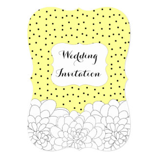Stylish Yellow Black White Floral And Polka Dot Card