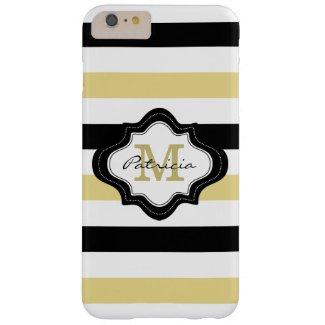 Stylish Yellow Black White Stripes Custom Monogram