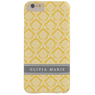 Stylish Yellow Damask Pattern with Grey Name Barely There iPhone 6 Plus Case
