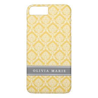 Stylish Yellow Damask Pattern with Grey Name iPhone 8 Plus/7 Plus Case