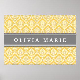 Stylish Yellow Damask Pattern with Grey Name Poster