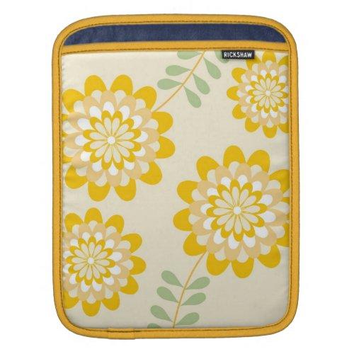 Stylish Yellow Floral Pattern - Cream iPad Sleeve