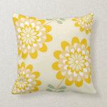 Stylish Yellow Floral Pattern - Cream Pillow