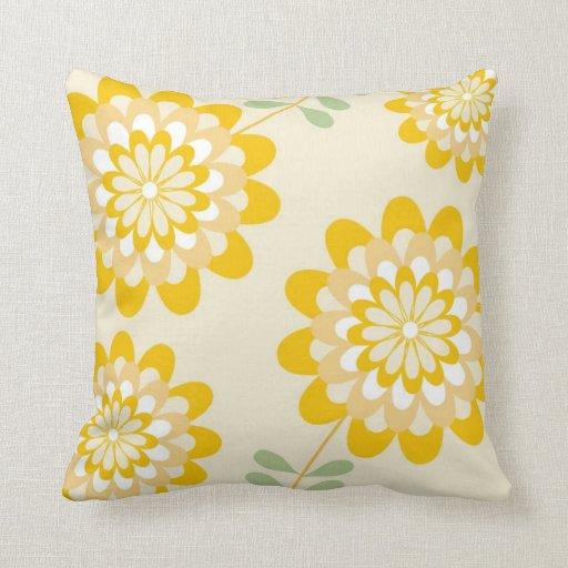 Stylish Yellow Floral Pattern - Cream Throw Pillow Zazzle
