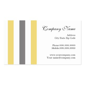 Stylish Yellow Gray Stripes Modern Double-Sided Standard Business Cards (Pack Of 100)
