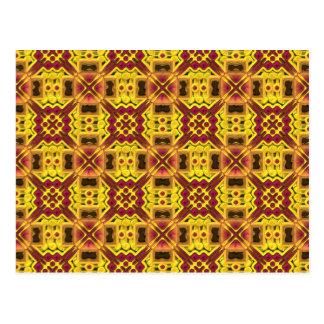 Stylish yellow red design postcard
